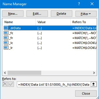 Name manager window example