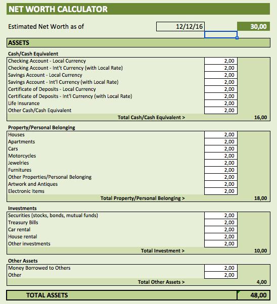 Net Worth Calculator assets