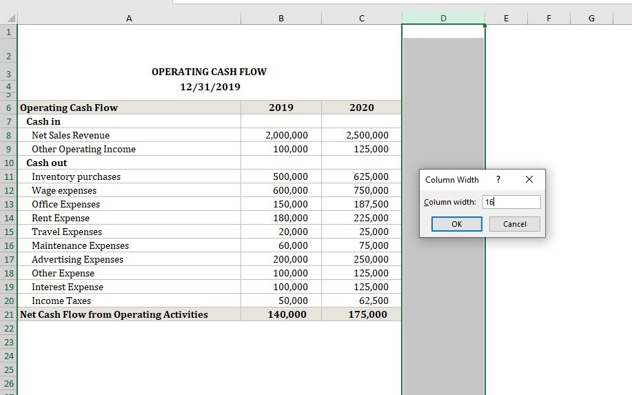 Operating Cash Flow Calculator Column Width