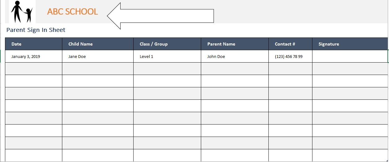 Parent Sign-In Sheet Replace Image