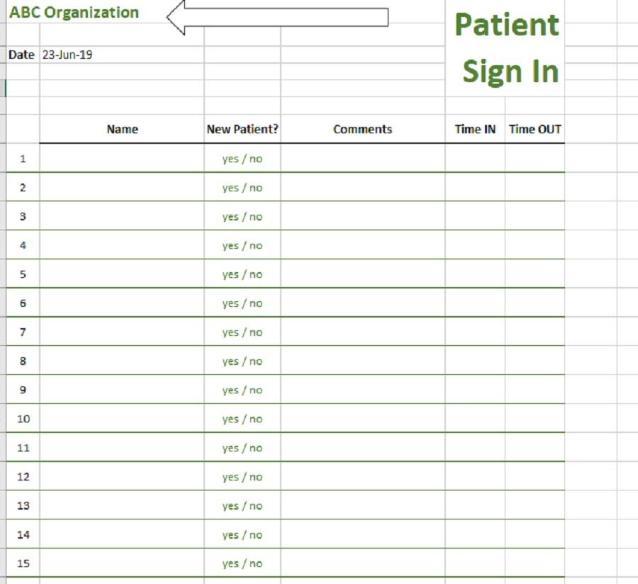 Patient Sign-In Sheet Header