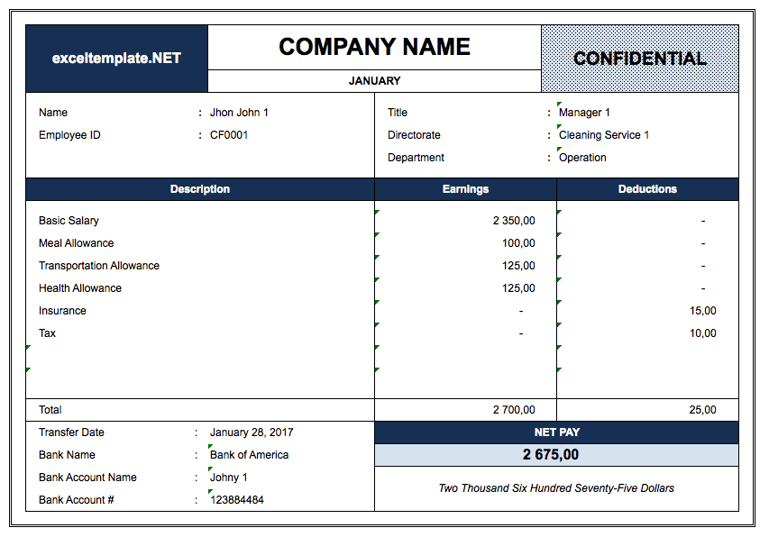 Pay Stub Template with Database by Employee Name