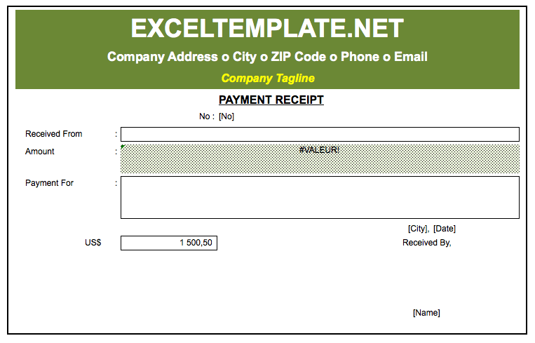 Payment Receipt Excel Template The Spreadsheet Page