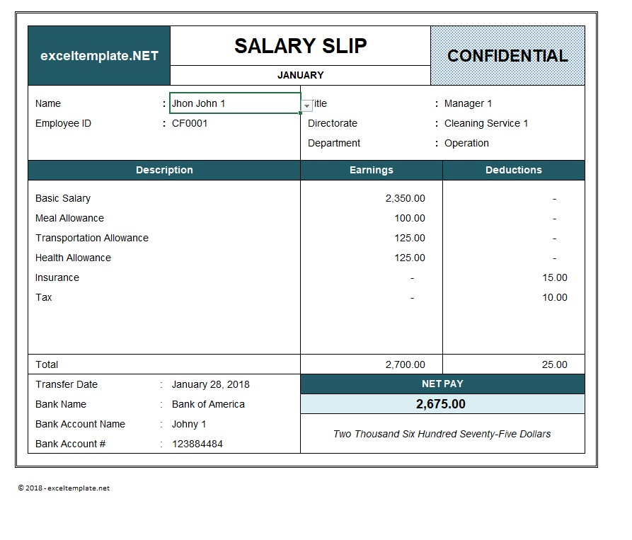 Paystub Excel Template Employee Name