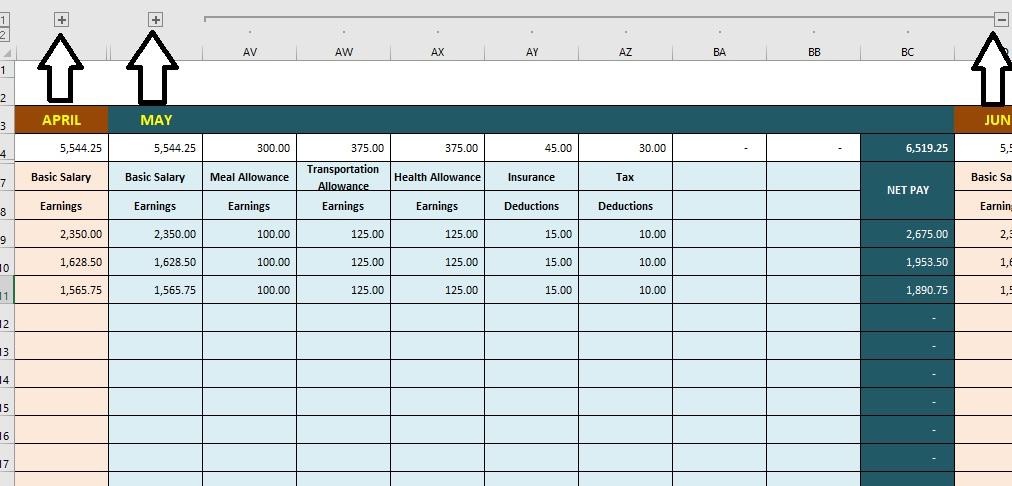 Paystub Excel Template Mini Maxi