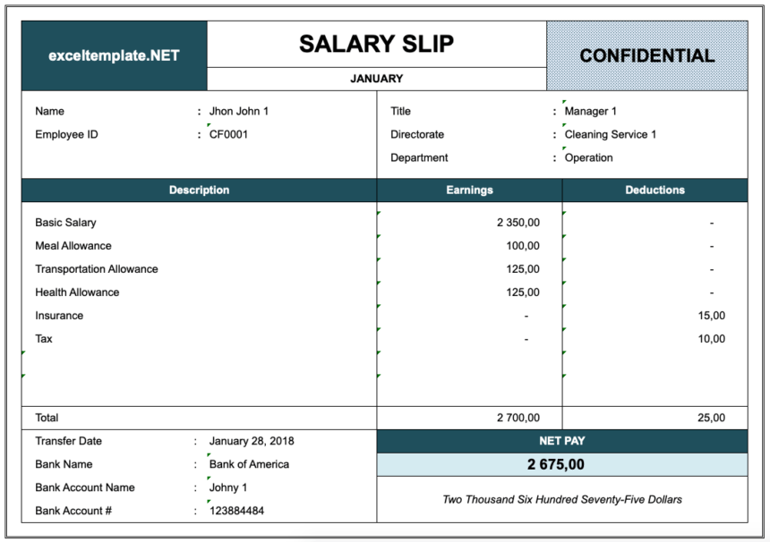 Paystub Excel Template Overview
