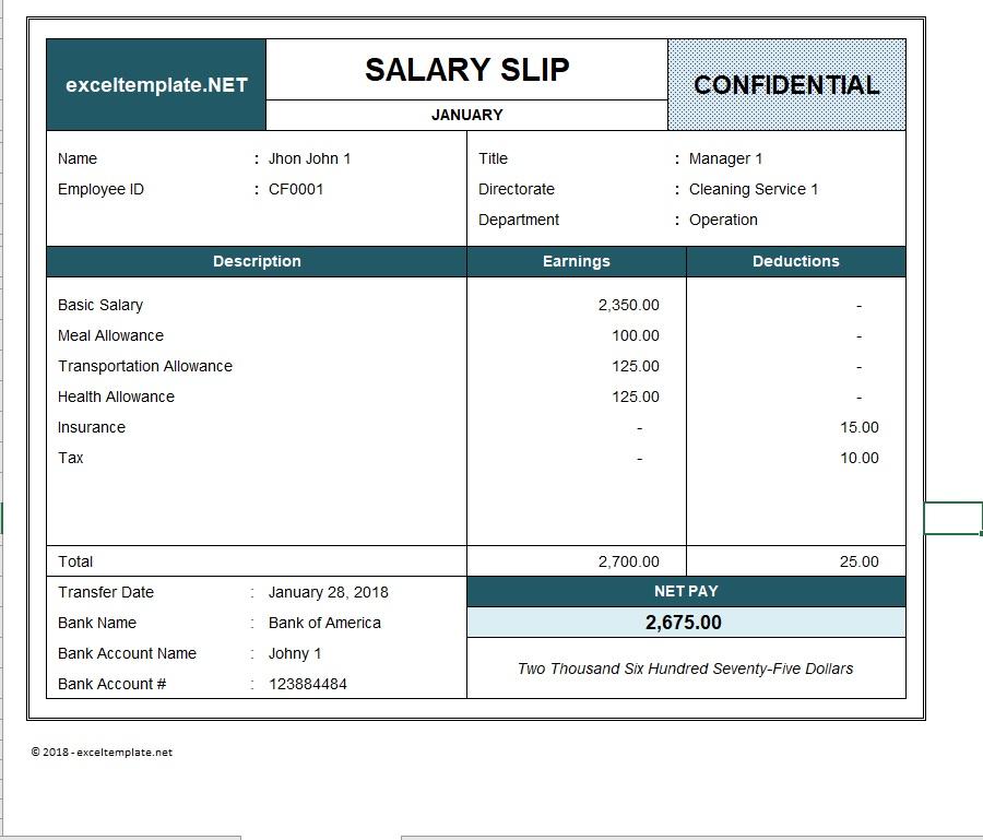 Paystub Excel Template Salary Slip
