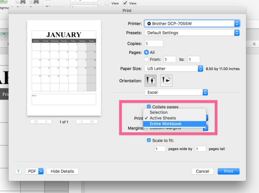 Portrait Calendar Printing Settings