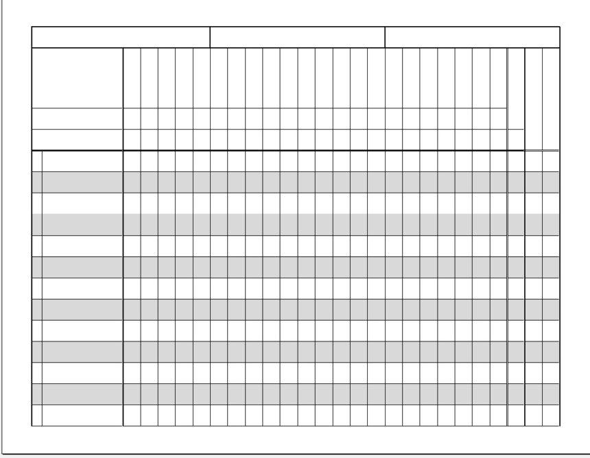 Printable Gradebook Blank