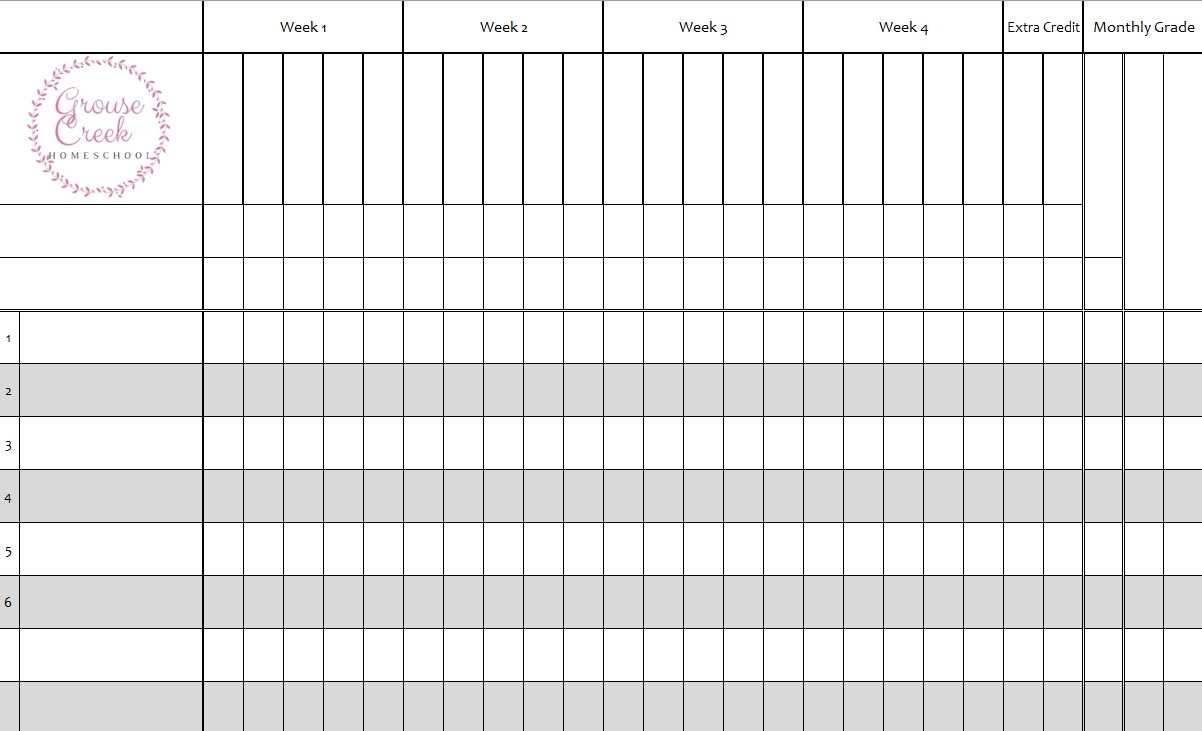 Printable Gradebook Headers