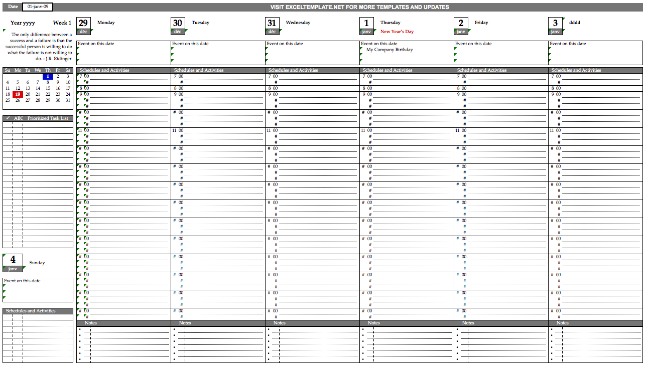 Printable Weekly Schedule with Tasks and Quotes