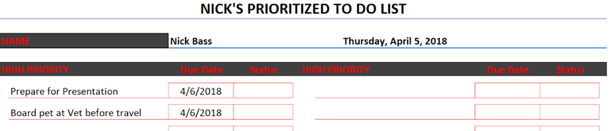 Prioritized To Do List red and black theme