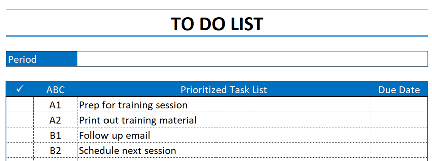 Prioritized To Do List setting priorities