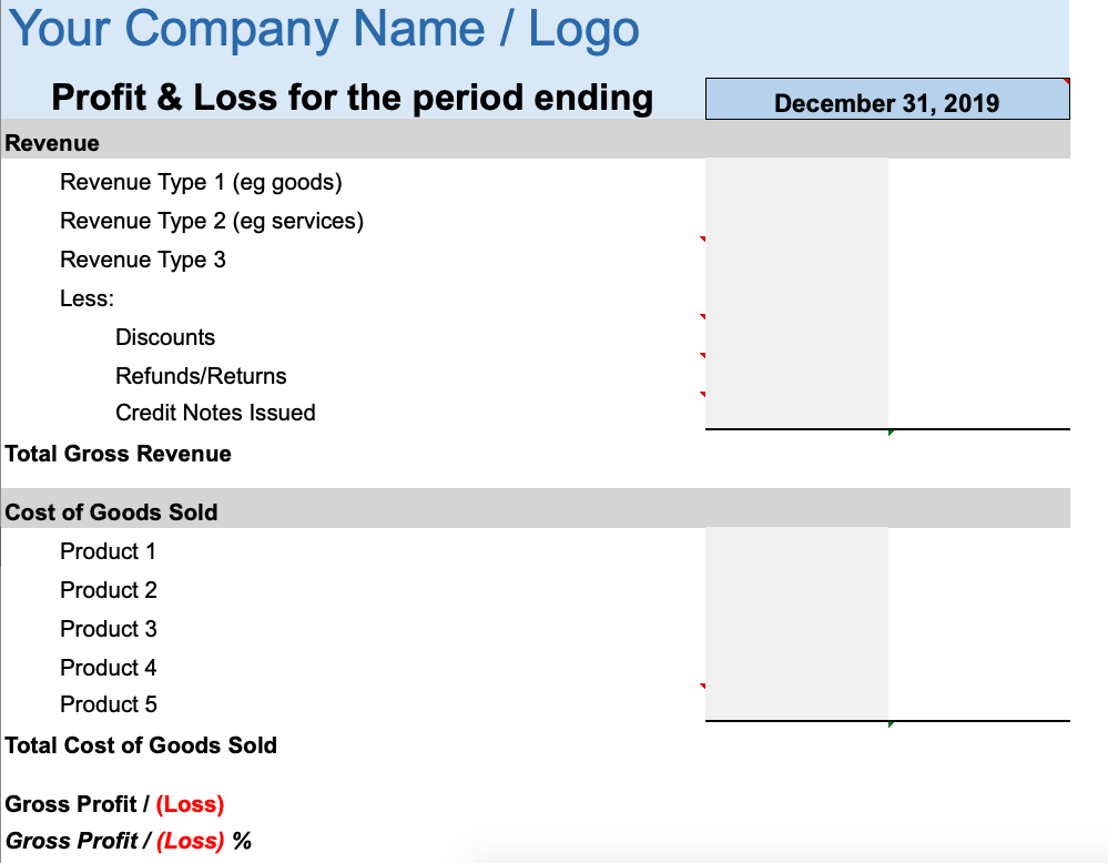 Profit and Loss Statement for Small Business