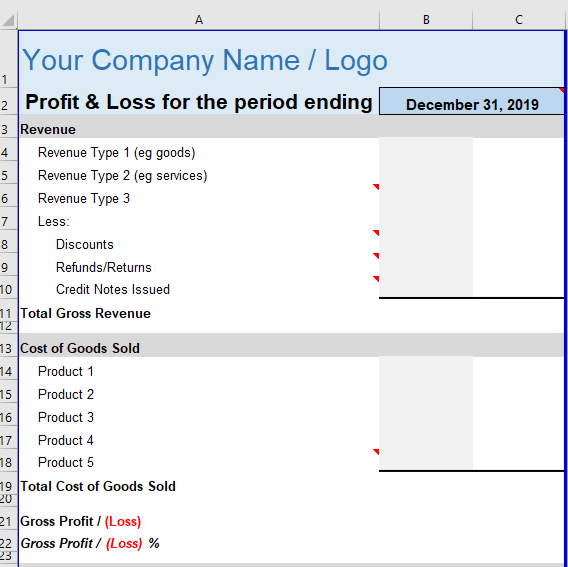 Profit Loss Statement Small Business Top Portion