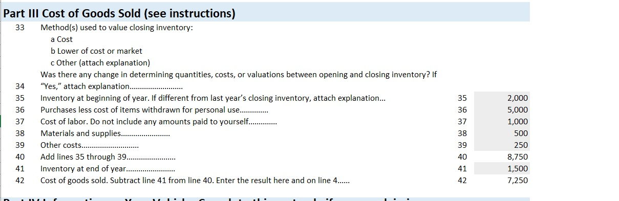 Profit and Loss Form Closing Inventory