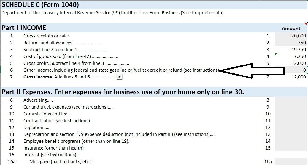 Profit and Loss Form Income