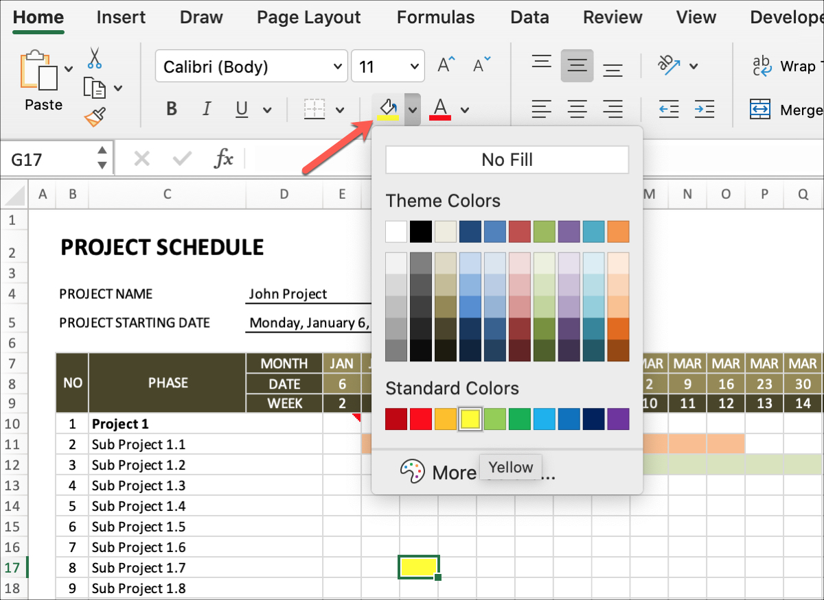 Project Schedule Colorize Phase Durations