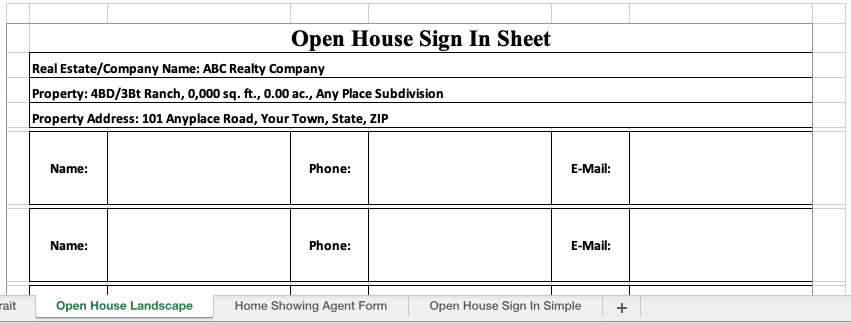 Real Estate Sign In Sheet Open House Landscape