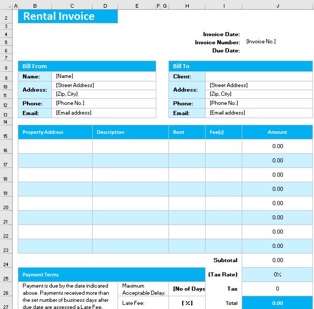 Rental Invoice Form
