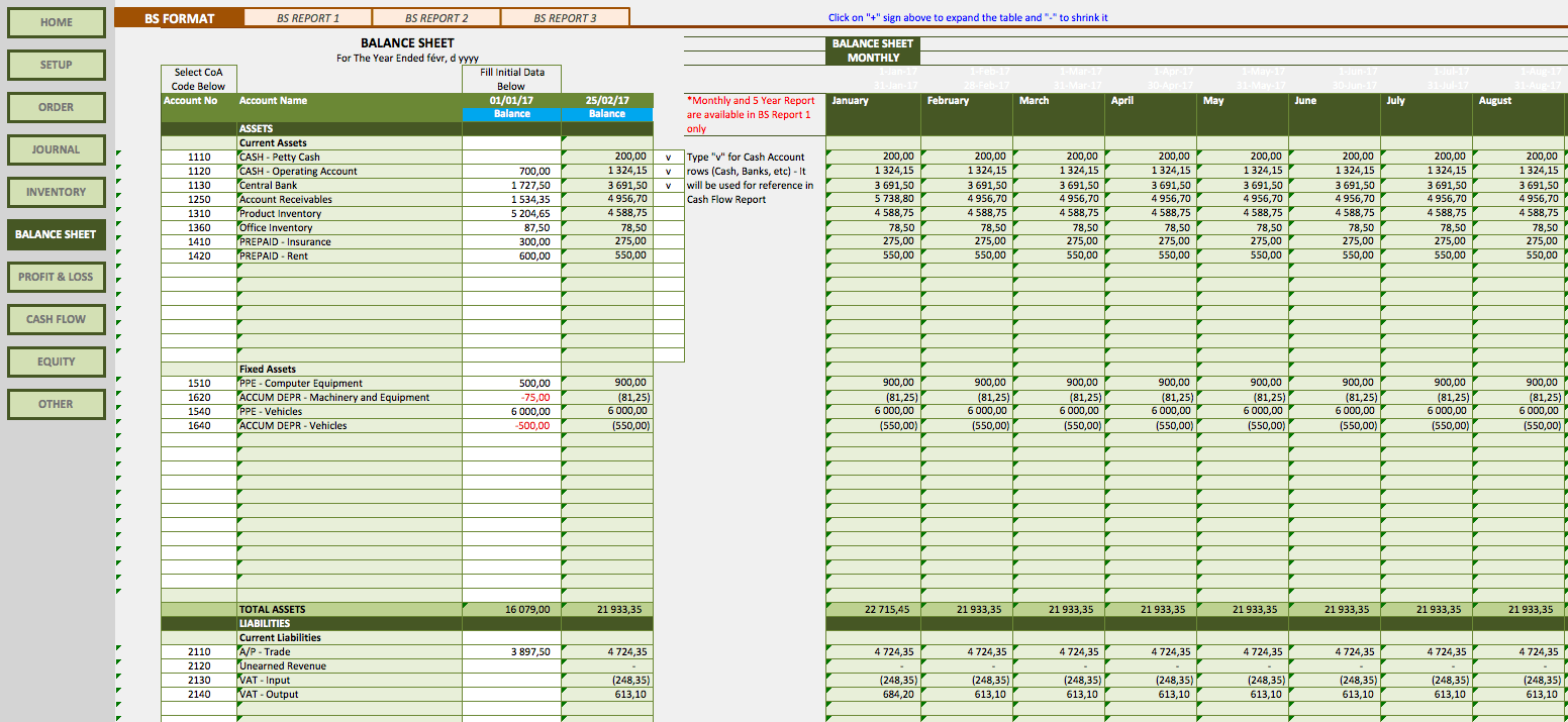 Retail Business Accounting Templates