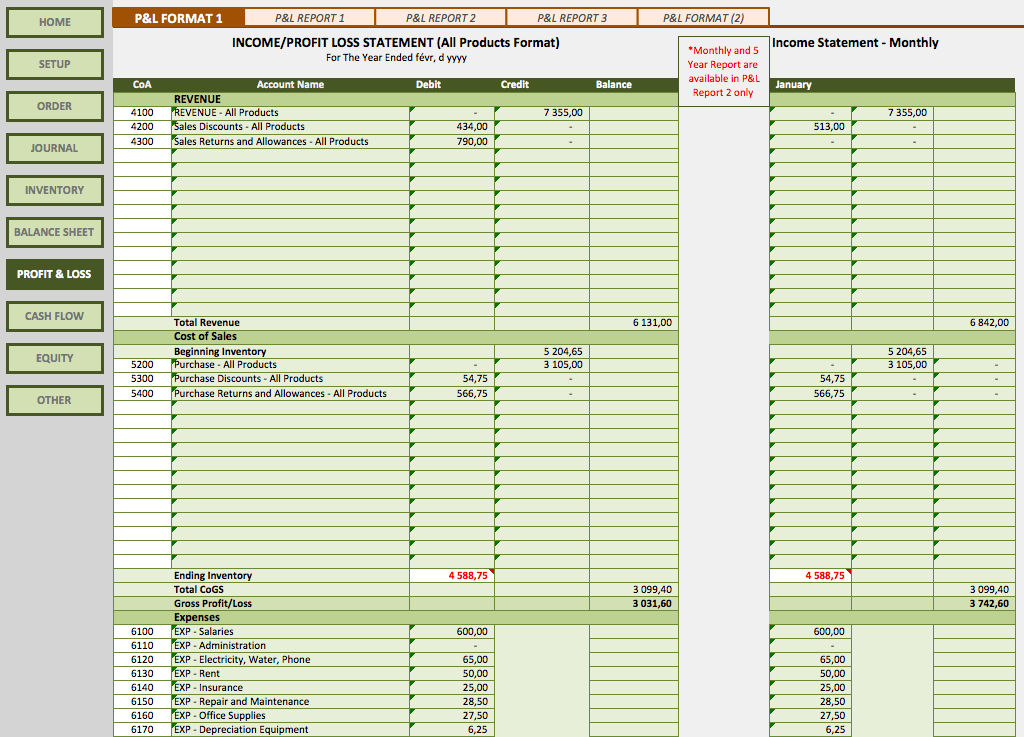 Retail Business Accounting Templates The Spreadsheet Page