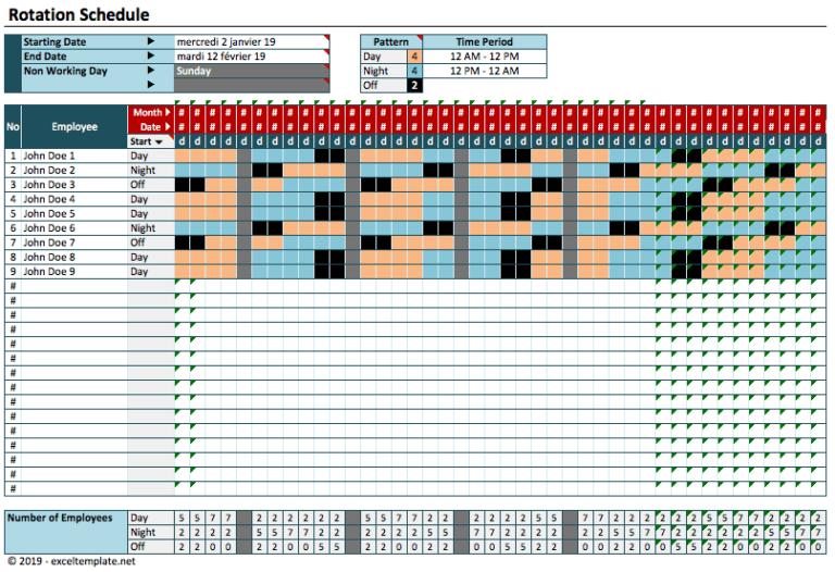 Rotating Schedule model1 calendar