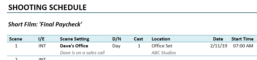 Shooting Schedule Template Date
