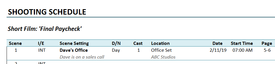 Shooting Schedule Template Page