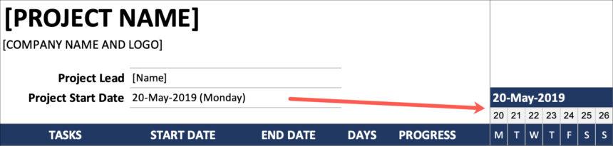 Simple Gantt Chart Start Date