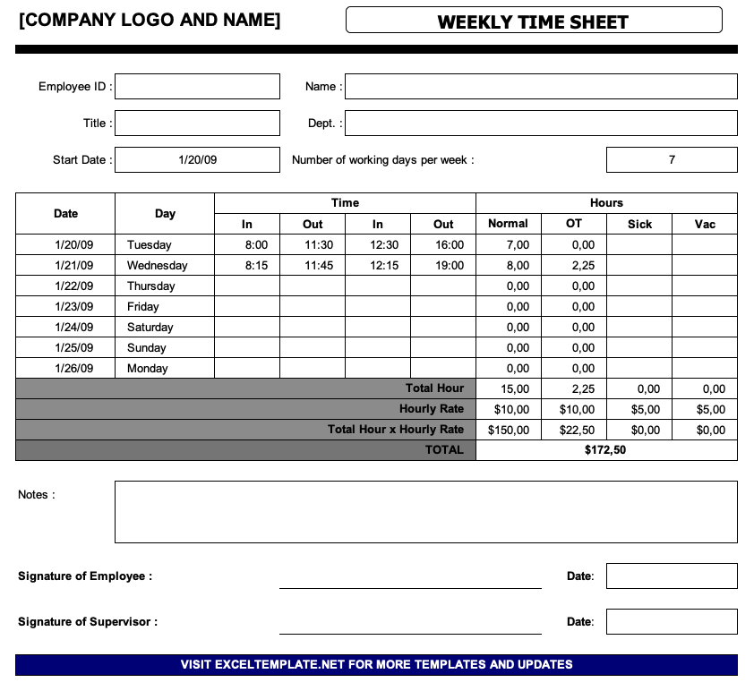 Simple Timesheet Template The Spreadsheet Page
