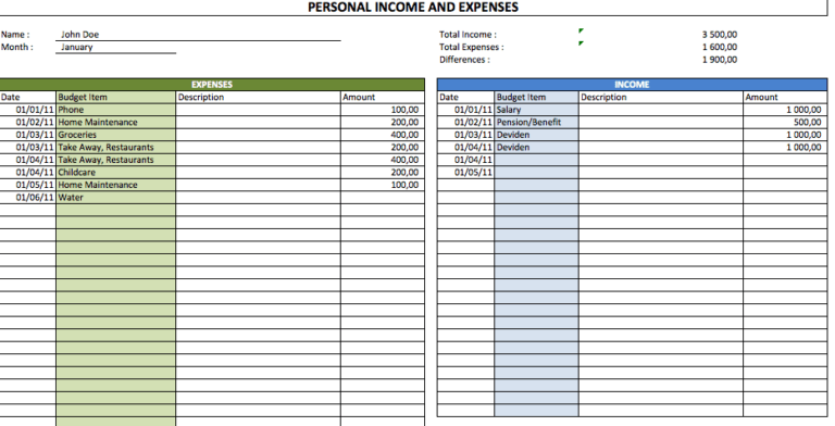 Simple Personal Budget tracker