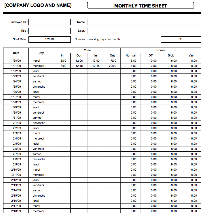 Basic Timesheet Template from spreadsheetpage.com