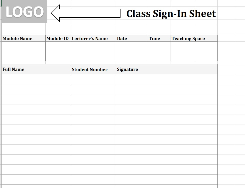 Student Sign-In Sheet Add Logo