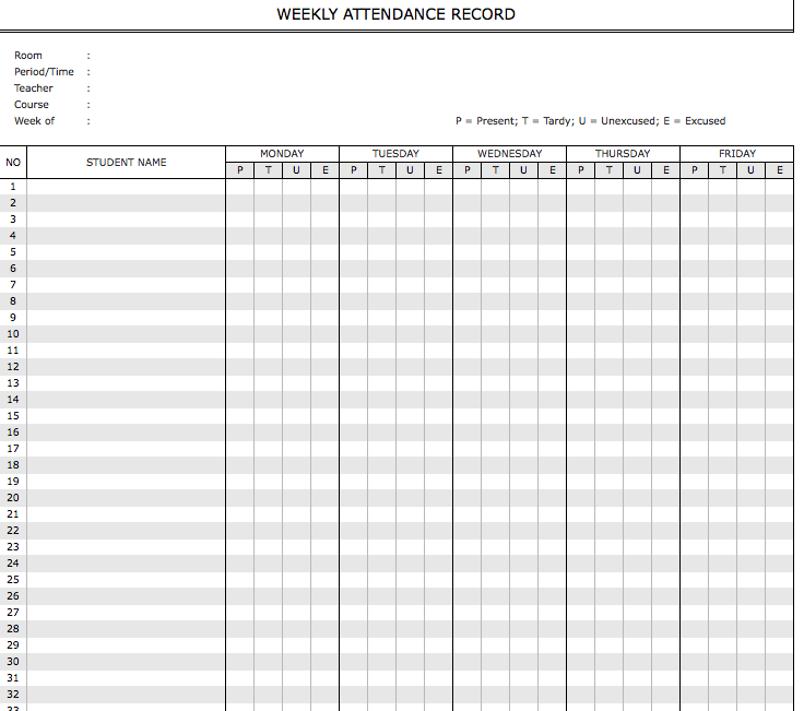 Student Attendance Sheet Weekly Monthly The Spreadsheet Page
