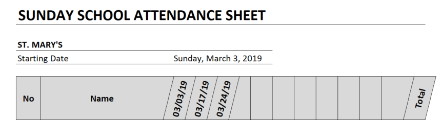 Sunday School Attendance Sheet Dates