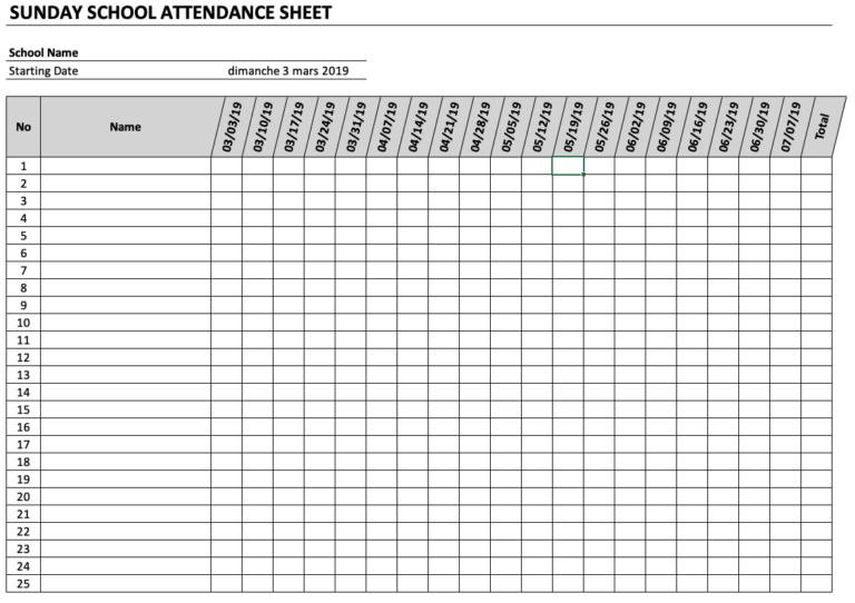Sunday School Attendance Sheet Landscape Dates
