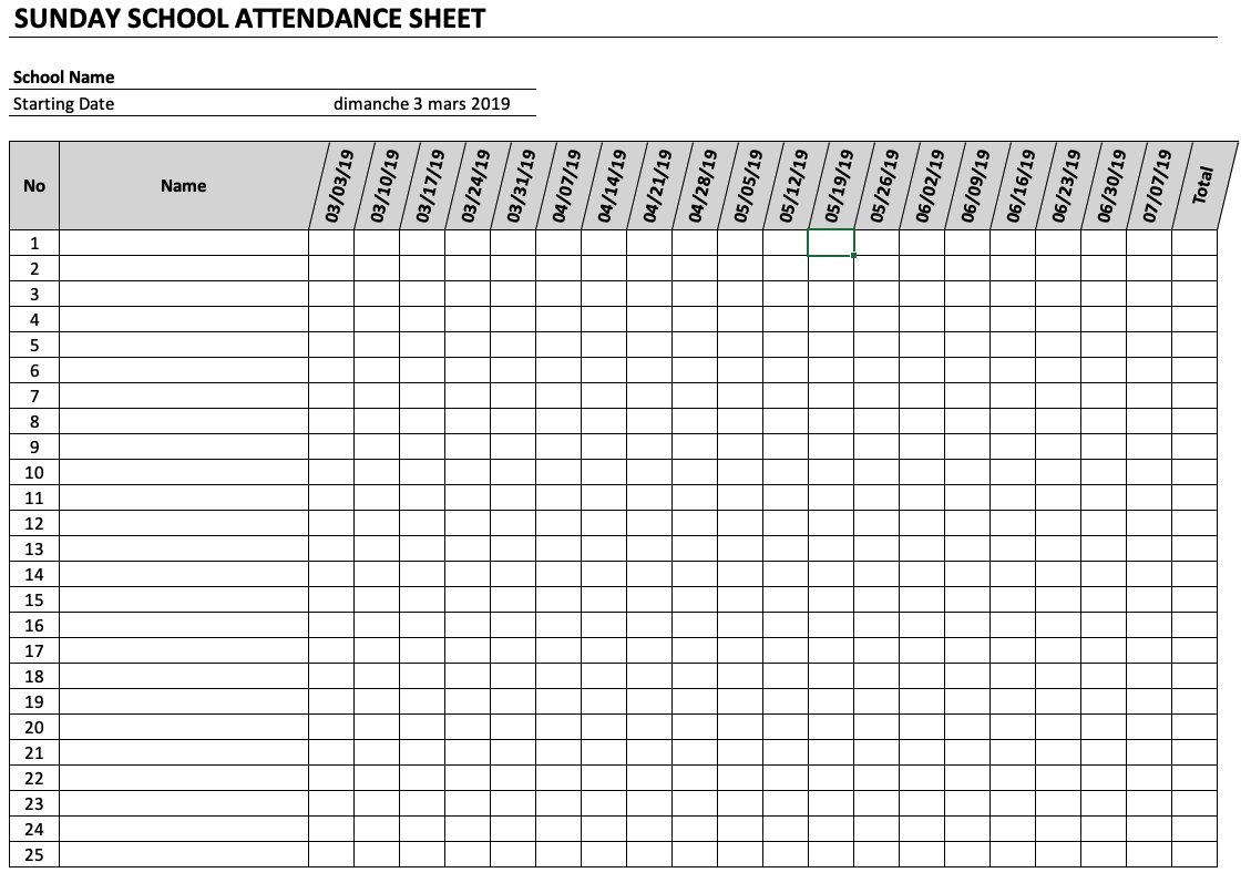 Sunday School Attendance Sheet The Spreadsheet Page