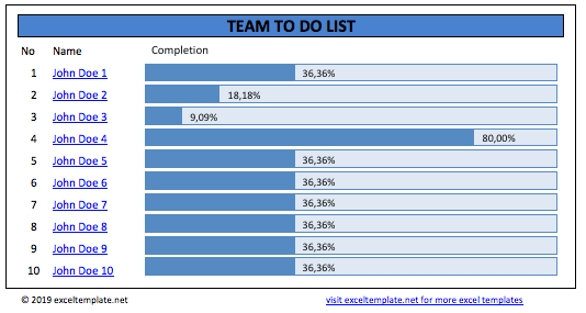 Team To Do List Template with Progress Bar