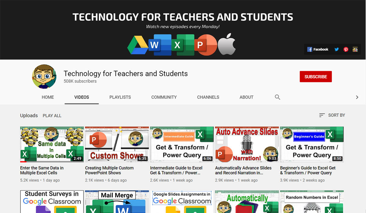 Technology for Teachers and Students Youtube
