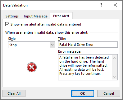 Tips Tricks and Shortcuts Data Validation Error Alert