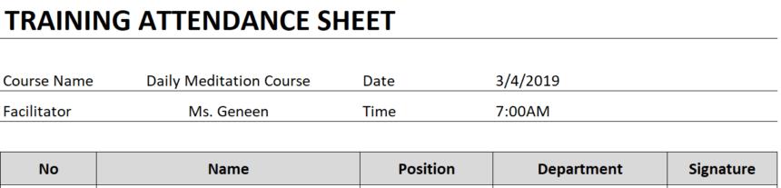 Training Attendance Sheet Personalize
