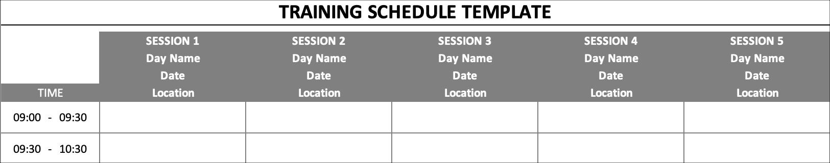 Training Schedule Basics