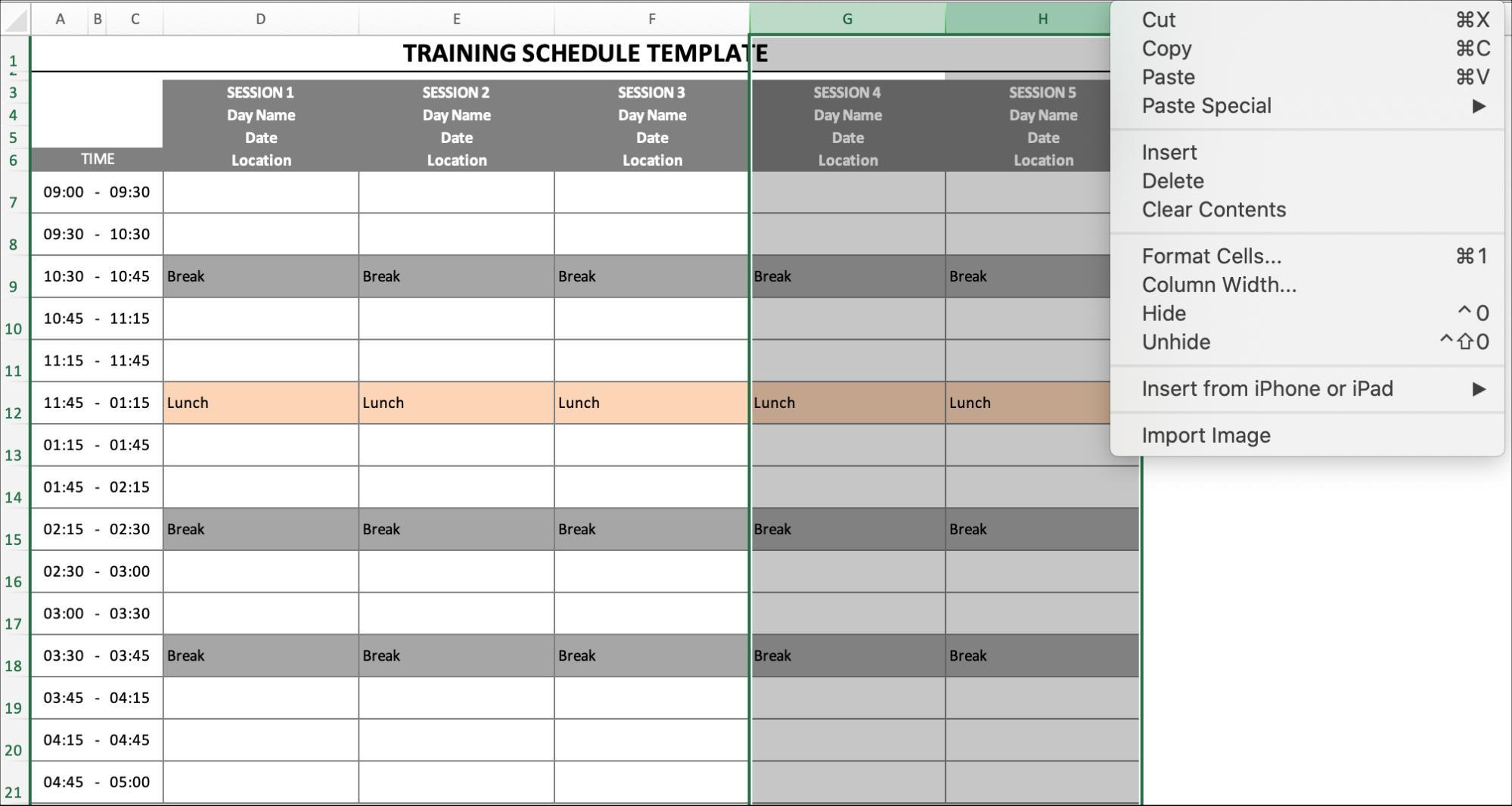 Training Schedule Hide Column