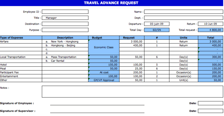Travel Advance Request