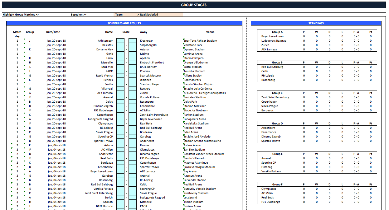 Uefa Europa League Fixtures And Scoresheet 2019 2020 The Spreadsheet Page