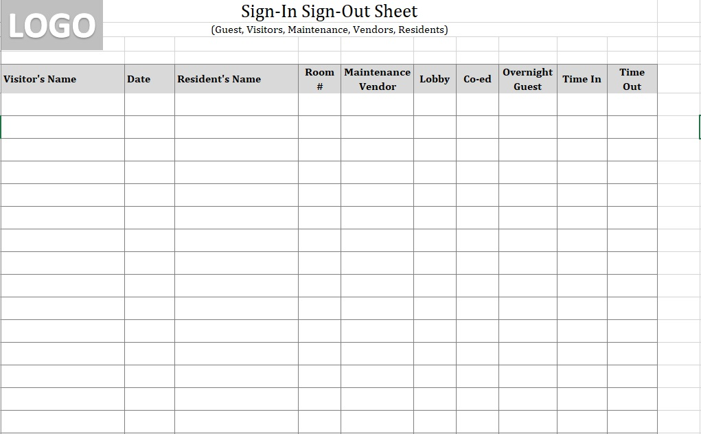 Visitor Sign-In Sheet Building