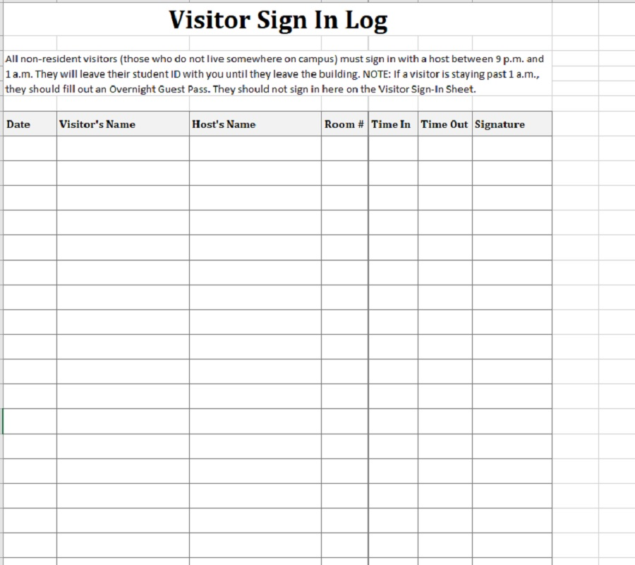 Visitor Sign-In Sheet Campus Portrait