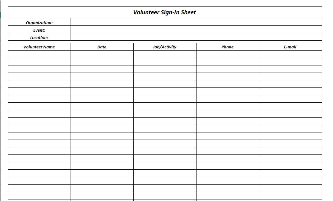 Volunteer Sign-In Sheet Black White