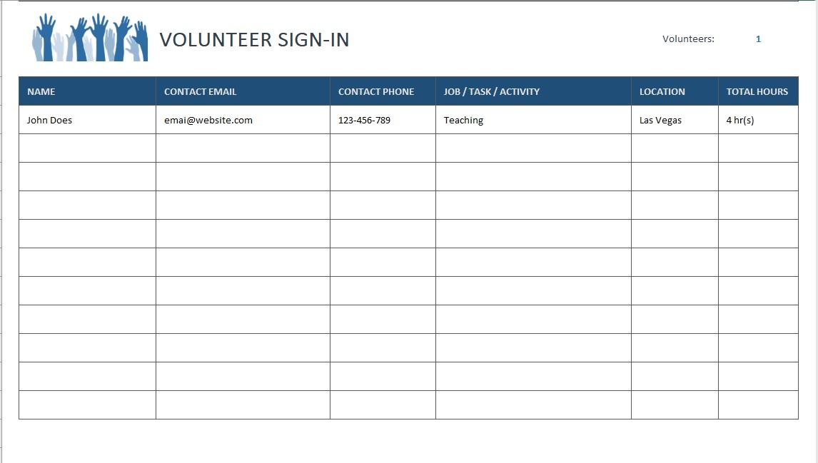 Volunteer Sign-In Sheet Details
